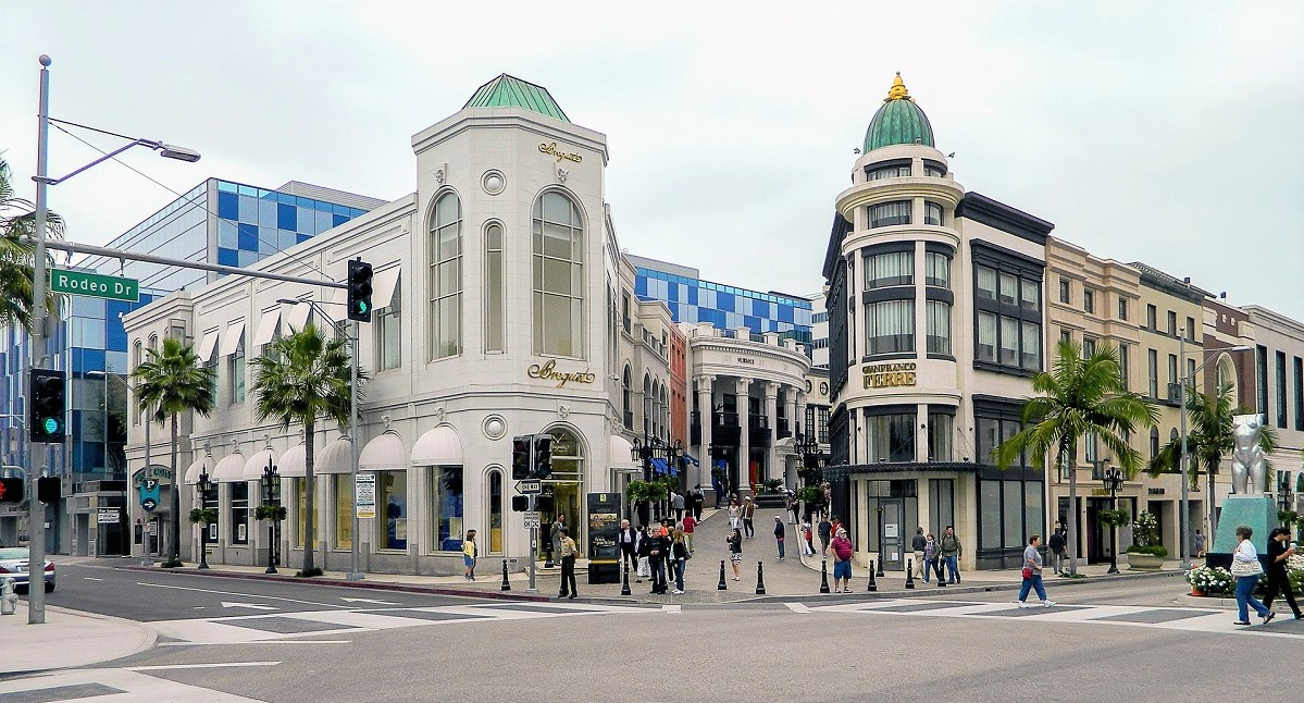 Blick auf die Shopping Mall Rodeo Drive